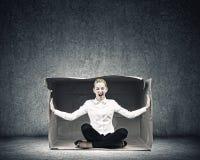 Meisje in doos Stock Afbeelding