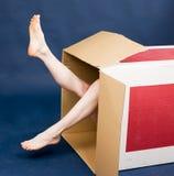 Meisje in doos Royalty-vrije Stock Afbeelding