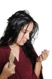 Meisje droevig wegens hairfallprobleem. Royalty-vrije Stock Foto