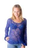 Meisje in een blauw wollen jasje Royalty-vrije Stock Afbeelding