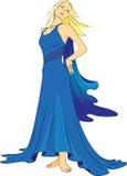 Meisje in een blauwe avondjurk Royalty-vrije Stock Foto's