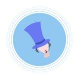 Meisje in een blauwe cilinder met hoofdtelefoons met microfoon Vlak pictogram Stock Foto's