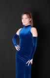 Meisje in een blauwe kleding stock foto's