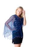 Meisje in een blauwe tippet royalty-vrije stock fotografie
