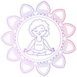 Meisje in een cirkel van mandala Stock Afbeelding