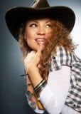 Meisje in een cowboyhoed Stock Foto