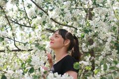 Meisje in een de bloemtuin van de de lenteappel Royalty-vrije Stock Afbeeldingen