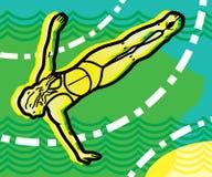 Meisje in een duikvlucht met haar wijd open wapens stock illustratie