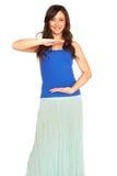 Meisje in een geïsoleerd overhemd en een rok stock foto