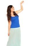 Meisje in een geïsoleerd overhemd en een rok royalty-vrije stock foto's
