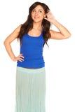 Meisje in een geïsoleerd overhemd en een rok stock foto's