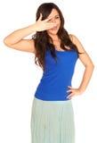 Meisje in een geïsoleerd overhemd en een rok royalty-vrije stock foto