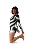Meisje in een gestreepte kleding Stock Fotografie