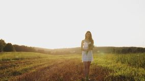 Meisje in een goede stemming die zich in weide met boeket van wildflowers met los lang haar in de zon bevinden stock videobeelden