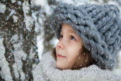 Meisje in een grote hoed in het de winterportret Stock Foto