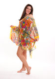 Meisje in een kleurrijke uniformjas Stock Foto