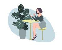 meisje in een koffie met een telefoon en een kop van koffie stock illustratie