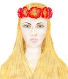 Meisje in een kroon Stock Foto's