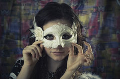 Meisje in een masker Stock Foto
