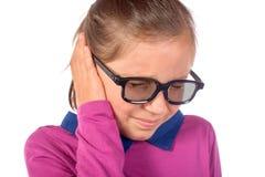 Meisje een oorpijn Stock Fotografie