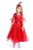 Meisje in een rode baltoga stock foto's