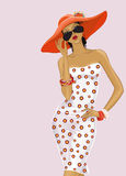 Meisje in een rode hoed Stock Afbeeldingen
