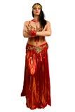 Meisje in een rode kostuum oosterse dans Stock Afbeeldingen