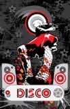 Meisje in een Rode Muziek van de Disco van de Rok Stock Fotografie