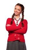 Meisje in een rode sweater royalty-vrije stock foto