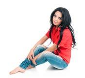 Meisje in een rood overhemd Stock Afbeeldingen