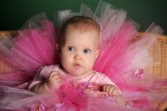 Meisje in een roze pluizige rok Stock Afbeeldingen