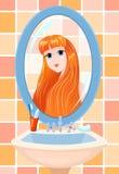 Meisje in een spiegel Royalty-vrije Stock Afbeeldingen