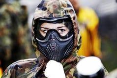 Meisje in een sportenmasker Royalty-vrije Stock Foto
