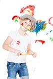 Meisje in een witte T-shirt en een GLB Stock Foto's