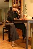 Meisje in een zwarte Stock Afbeelding