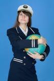Meisje in eenvormige greepbol Royalty-vrije Stock Foto's