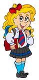 Meisje in eenvormige school Stock Afbeelding