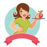 Meisje en appel royalty-vrije illustratie