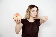 Meisje en appel Royalty-vrije Stock Afbeeldingen