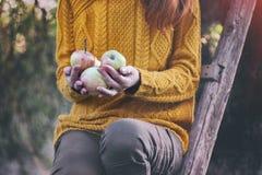 Meisje en appelen stock afbeeldingen