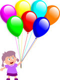Meisje en Ballons Stock Afbeeldingen