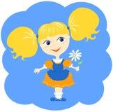 Meisje en bloem. Royalty-vrije Stock Afbeelding