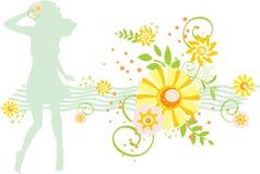 Meisje en bloem Vector Illustratie