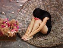 Meisje en bloemen Royalty-vrije Stock Foto's