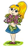 Meisje en bloemen Royalty-vrije Stock Afbeeldingen