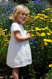 Meisje en bloemen Stock Afbeeldingen