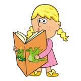 Meisje en boek stock illustratie