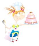 Meisje en cake Stock Illustratie