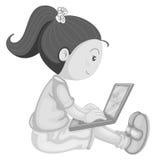 Meisje en computer Stock Foto