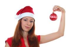 Meisje en cristmasstuk speelgoed Royalty-vrije Stock Afbeelding